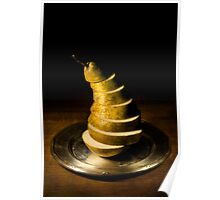 Sliced pear on the silver plate Poster