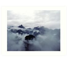 Mountain covered in Clouds - 529 Art Print