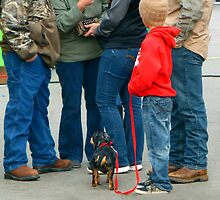 Kids and Puppies...and Blue Jeans by WildestArt