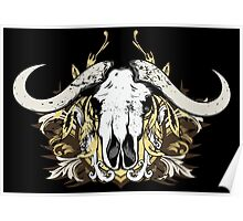 Buffalo Skull and Engraved Floral Detail - V2 Poster