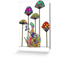 Gnome Snail Ride Greeting Card
