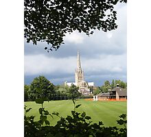 Norwich Cathedral before a storm in colour Photographic Print