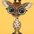 Cute Curious Baby Giraffe Wearing Glasses on Yellow by Jeff Bartels