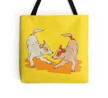 Two heeler pups playing tag Tote Bag
