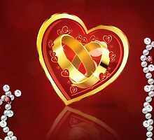 Card with wedding rings in heart by AnnArtshock
