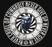 Never Cruel Or Cowardly - Doctor Who - TARDIS Clock by createdezign