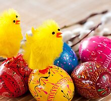Easter eggss and yellow fluffy chickens  by Arletta Cwalina