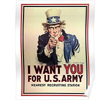 I Want You! Uncle Sam Wants You, USA, War, Recruitment Poster Poster
