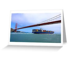 Commerce.- Cargo ship under the Golden Gate Bridge, San Francisco, California Greeting Card