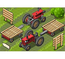 Isometric Red Farm Tractor in Two Positions Photographic Print