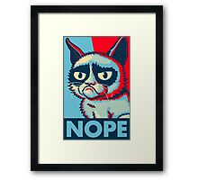 Nope Cat Framed Print