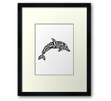 Black dolphin design Framed Print