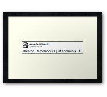 "Alex Gaskarth - ""Breathe. Remember it's just chemicals"" Framed Print"