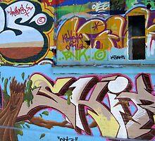 Graffiti on a wall by Ron Zmiri