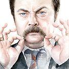Ron Swanson Portrait by OlechkaDesign
