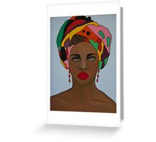 African woman in head scarf Greeting Card