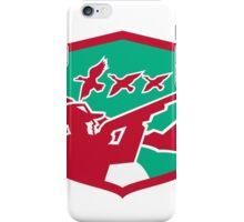 Hunter Aiming Shooting Ducks Shield Retro iPhone Case/Skin