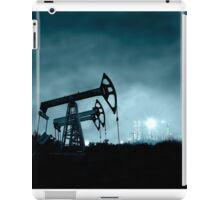 Pump jack and grangemouth refinery at night. iPad Case/Skin