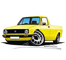 VW Caddy Yellow Photographic Print