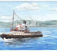 Tug boat on River Clyde watercolor by Mike Theuer