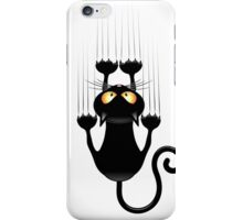 Black Cat Cartoon Scratching Wall iPhone Case/Skin