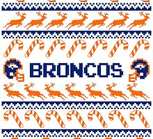 Broncos Football Christmas Ugly Sweater T Shirt by CosmikMonkey
