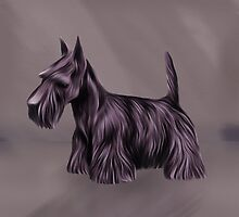 Digitally Oil Painted Scottish Terrier by Moonlake