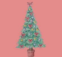 Christmas tree and decorations and red bows   by pollywolly
