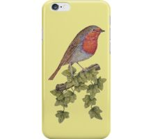 Christmas Robin and ivy leaves illustration iPhone Case/Skin