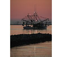 Shrimp Boat at Twilight Photographic Print