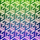 Penrose Cube Stack - Green Purple by VanHogTrio