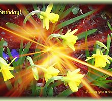 Extra Terrestrial Daffodils Birthday Card by BlueMoonRose