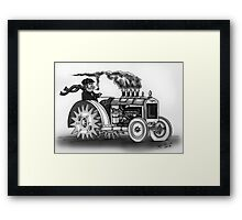 VINTAGE STEAMPUNK TRACTOR (BLACK AND WHITE) Framed Print