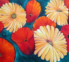 Poppies and Gerberas -  by tola