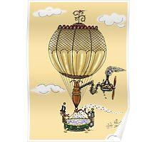 STEAMPUNK HOT AIR BALLOON (Gold) Poster