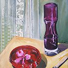 hibiscus in bowl with purple vase by Libby Yee