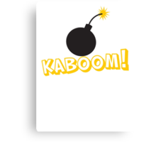 KABOOM cartoon explosion noise with bomb Canvas Print