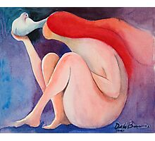 Mujer y paloma Photographic Print