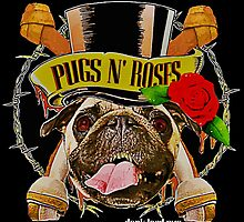 pugs n roses by darklordpug