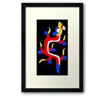 Red and blue aztec dragon Framed Print