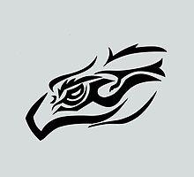 Tribal eagle on gray by JoAnnFineArt