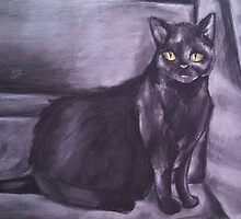 Black Cat on Stairs- Charcoal Drawing by KLoganArt