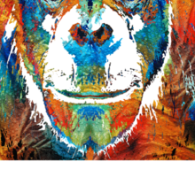 Colorful Chimp Art - Monkey Business - By Sharon Cummings Sticker