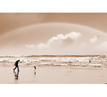 one man a rainbow and his dog Photographic Print