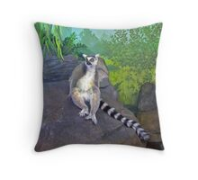 One Cool Lemur Throw Pillow