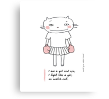 Fight like a girl / Cat doodle Canvas Print