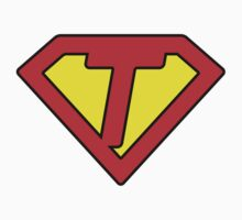 T letter in Superman style Kids Clothes