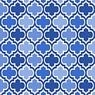 Four Shades Quatrefoil Pattern Bold Blue by Ra12