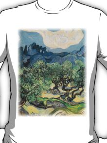 Olive Trees by Vincent van Gogh. Famous landscape oil painting. Van Gogh's unique swirling painting style. T-Shirt