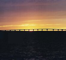 Bay Sunset Over the Bridge by Janet Ellen Lusk